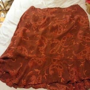 Kate Hill Burnt Orange Ruffled skirt